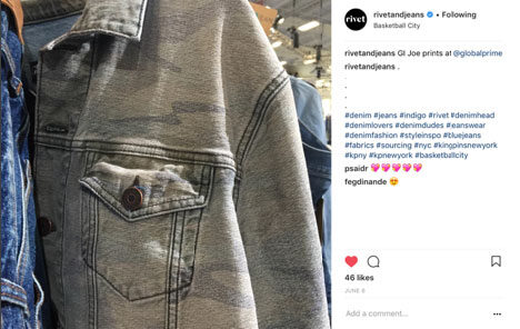 Los diseños de Global Denim en el perfil de Instagram de Sourcing Journal and Rivets Instagram Page